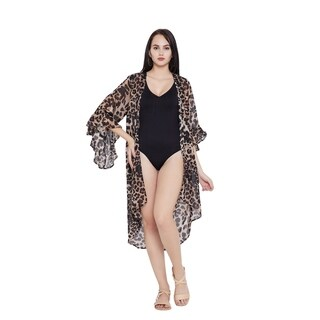 Black Leopard Kimono Beach Dresses Bikini Cover Ups Women Swim Bathing