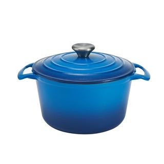 Cooks Tools Enamel Cast Iron Porcelain Coated 3-1/2 Quart Indigo Blue Dutch Oven