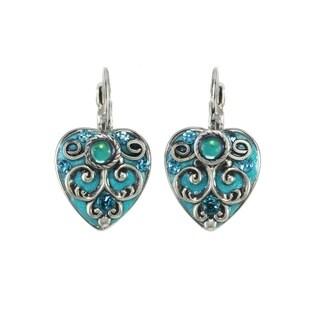 Handmade Aqua Heart Earrings (USA) by Michal Golan