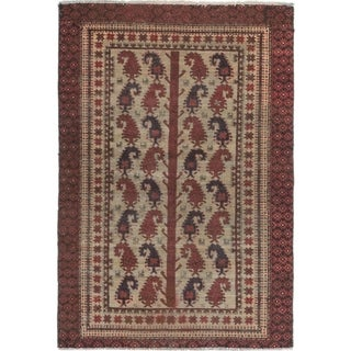 Hand Knotted Balouch Semi Antique Wool Area Rug - 4' x 5' 10