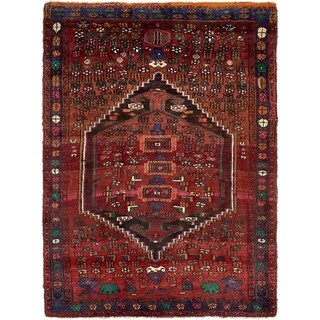 Hand Knotted Bidjar Semi Antique Wool Area Rug - 4' 2 x 5' 9
