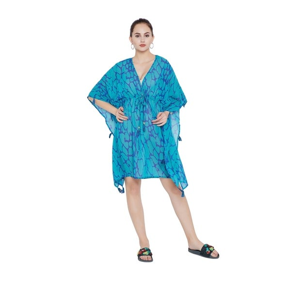 af6bf291bb014 Turquoise Tassel Tie-Up Beach Dresses Bikini Cover Ups Womens Swimsuit
