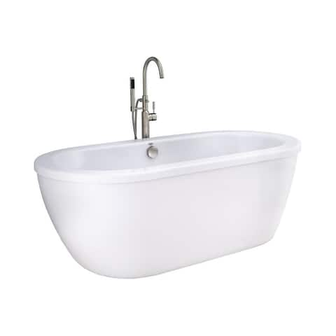 American Standard Cadet FreeStanding Bathtub Artic White with Brushed Nickel Drain and Filler