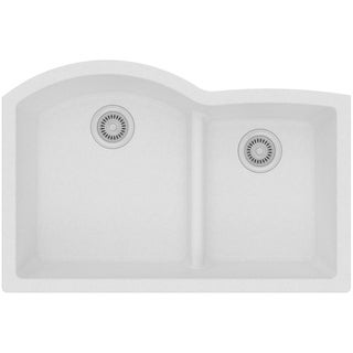 "Elkay Quartz Classic 33"" x 22"" x 10"", Offset 60/40 Double Bowl Undermount Sink with Aqua Divide, White"
