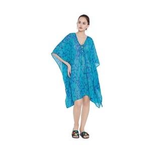 Turquoise Abstract Print Beach Dresses Bikini Cover Ups Women Bathing