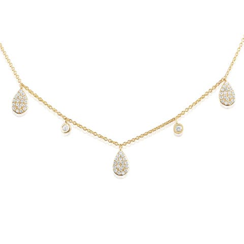 14K Gold and Diamond Pear Drop Station Fashion Necklace