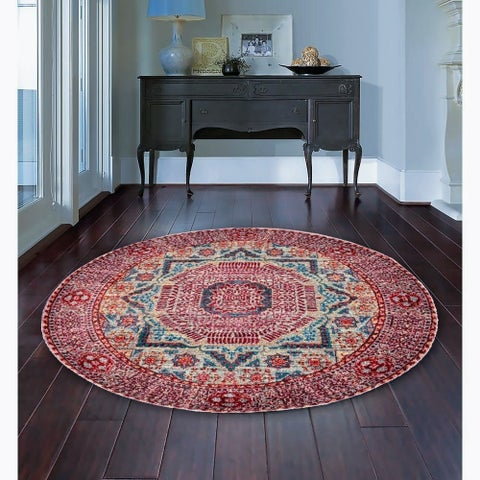 Armenian Blend Vintage Orange/Cream Round Area Rug - 4'9