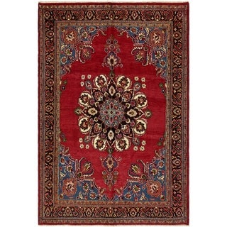Hand Knotted Birjand Wool Area Rug - 6' 8 x 10'