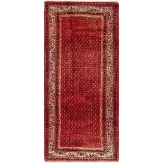 Hand Knotted Botemir Semi Antique Wool Runner Rug - 3' 7 x 8'