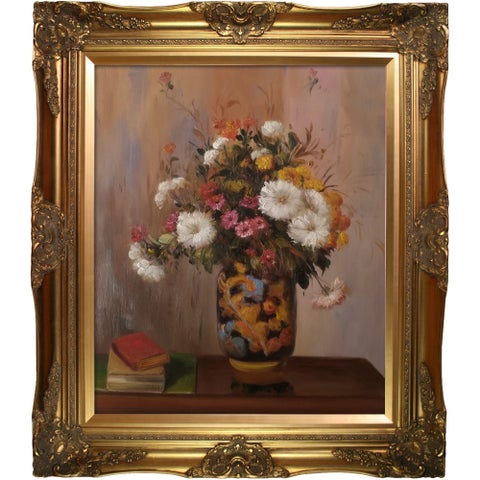 Theodore Robinson 'Bouquet of Flowers: Chrysanthemums in a China Vase' Hand Painted Oil Reproduction