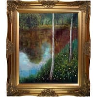 Gustav Klimt 'Landscape with Birch Trees' Hand Painted Oil Reproduction