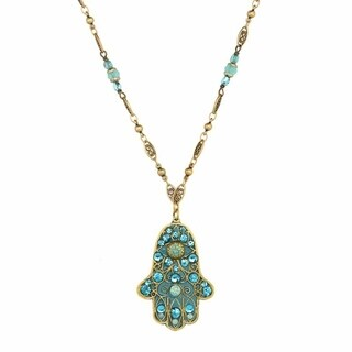 Handmade Turquoise Crystal Hamsa Necklace (USA) by Michal Golan