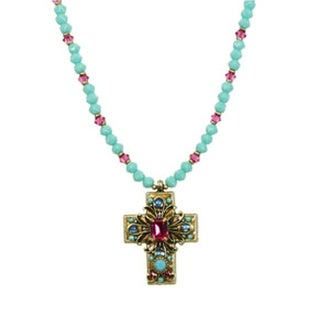 Handmade Turquoise and Magenta Cross Necklace (USA) by Michal Golan