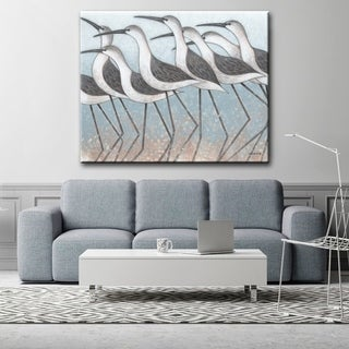Race to the Shore White/ Blue Bird Gallery Wrapped Canvas Art by Norman Wyatt Home