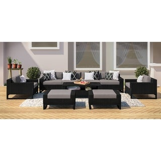 Santino 9-piece Olefin, Handmade Wicker Outdoor Conversation Set