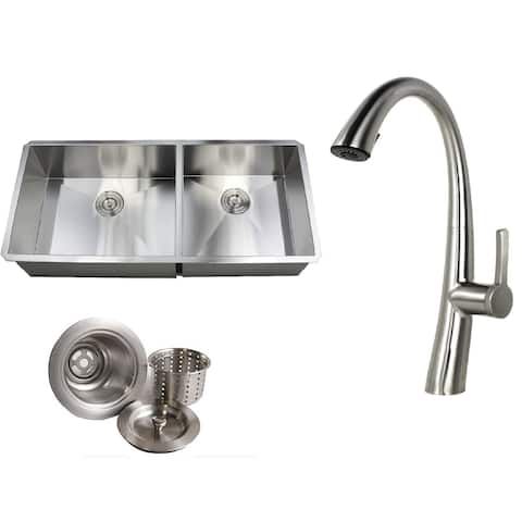 Undermount 42 in. x 20 in. x 10 in. Deep Stainless Steel 16-Gauge Double Bowl 60/40 Zero Radius Kitchen Sink AND Faucet Combo