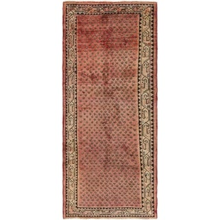Hand Knotted Botemir Semi Antique Wool Runner Rug - 3' 9 x 9' 7