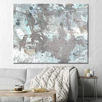 "Norman Wyatt Home ""Morning Frost"" Grey/ Blue Abstract Gallery Wrapped Canvas Art"