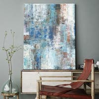 "Norman Wyatt Home ""Bayside Harbor"" Blue Abstract Gallery Wrapped Canvas Art"