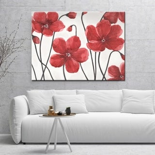 "Norman Wyatt Home ""Royal Beauties"" Red/ White Floral Gallery Wrapped Canvas Art"