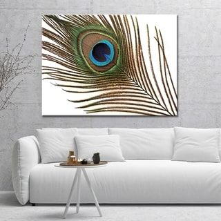 """Norman Wyatt Home """"Peacock Feather"""" Green/ Blue Gallery Wrapped Canvas Art"""