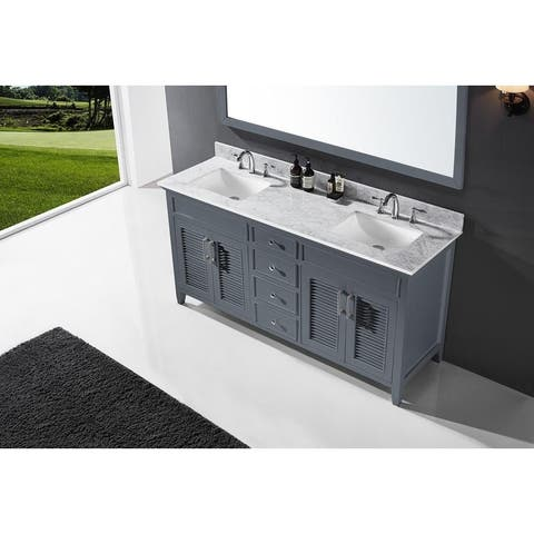 """Exclusive Heritage 72"""" Double Sink Bathroom Vanity in Cashmere Grey with Carrara White Marble Top"""