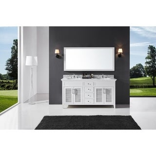 "Exclusive Heritage 60"" Double Sink Bathroom Vanity in White with Carrara White Marble Top"