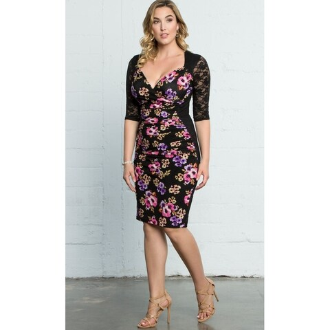 Kiyonna Plus Size Women's Stop and Stare Ruched Dress