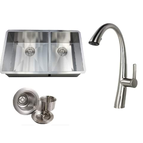 Undermount 32 in. x 19 in. x 10 in. Deep Stainless Steel 16-Gauge Double Bowl 60/40 Zero Radius Kitchen Sink AND Faucet Combo