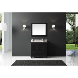 "Exclusive Heritage 36"" Single Sink Bathroom Vanity in Espresso with Carrara White Marble Top"