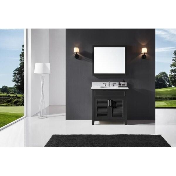 "Exclusive Heritage 36"" Single Sink Bathroom Vanity in Espresso with Carrara White Marble Top"