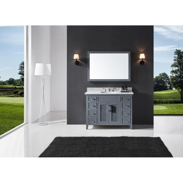 "Exclusive Heritage 48"" Single Sink Bathroom Vanity in Cashmere Grey with Carrara White Marble Top"