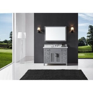 "Exclusive Heritage 48"" Single Sink Bathroom Vanity in Taupe Grey with Carrara White Marble Top"