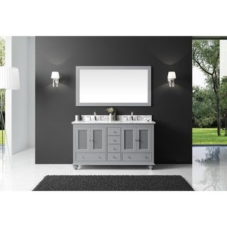 """Exclusive Heritage 60"""" Double Sink Bathroom Vanity in Taupe Grey with Carrara White Marble Top and Mirror Set"""