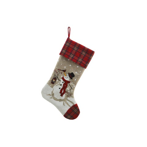 "Snowman Lantern Light Up Christmas Stocking 20-Inch - 11""x20"""