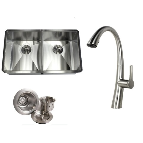 Undermount 32 in. x 19 in. x 10 in. Deep Stainless Steel 16-Gauge Double Bowl 50/50 Zero Radius Kitchen Sink AND Faucet Combo