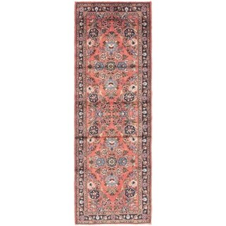 Hand Knotted Borchelu Semi Antique Wool Runner Rug - 3' x 9' 8
