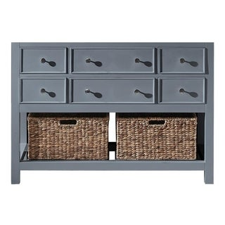"Exclusive Heritage 48"" Single Sink Bathroom Vanity Base in Cashmere Grey with Seagrass Baskets"