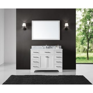 "Exclusive Heritage 48"" Single Sink Bathroom Vanity in White with Carrara White Marble Top"