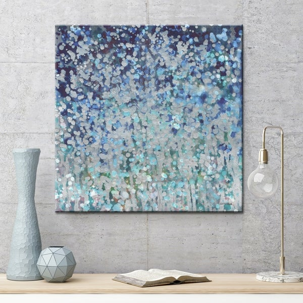 "Norman Wyatt Home ""Starlight Rain"" Blue/ Grey Abstract Gallery Wrapped Canvas Art"