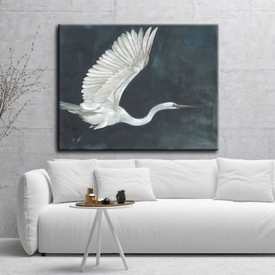 Night Flying White/ Blue Bird Beach Animals Gallery Wrapped Canvas Art by Norman Wyatt Home