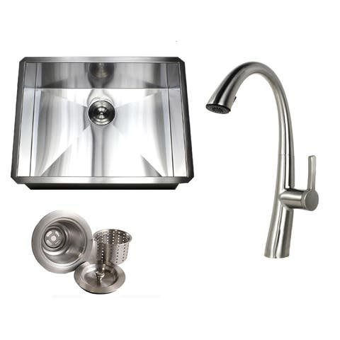 Undermount 26 in. x 20 in. x 10 in. Deep Stainless Steel 16-Gauge Single Bowl Zero Radius Kitchen Sink AND Faucet Combo