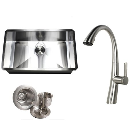 Undermount 30 in. x 18 in. x 10 in. Deep Stainless Steel 16-Gauge Single Bowl Zero Radius Kitchen Sink AND Faucet Combo