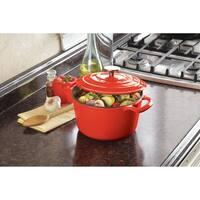 Cooks Tools Enamel Cast Iron Porcelain Coated 3-1/2 Quart Orange Dutch Oven