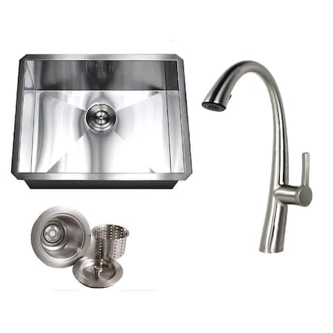 Undermount 23 in. x 18 in. x 10 in. Deep Stainless Steel 16-Gauge Single Bowl Zero Radius Kitchen Sink AND Faucet Combo