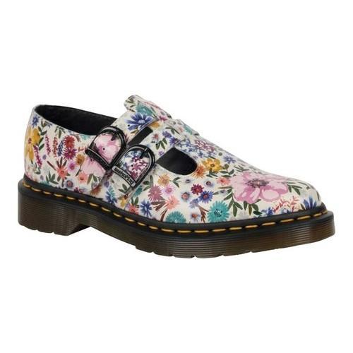 Women's Dr. Martens 8065 Double Strap Mary Jane DML Bone/Mallow Pink Wanderlust Backhand Leather