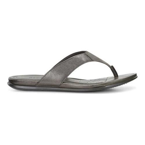5748eed2a Shop Women s ECCO Touch Thong Sandal Licorice Metallic Tarmac Cow  Nubuck Cow Leather - Free Shipping Today - Overstock - 19582045