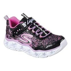 Girls' Skechers S Lights Galaxy Lights Bungee Lace Sneaker Black/Multi