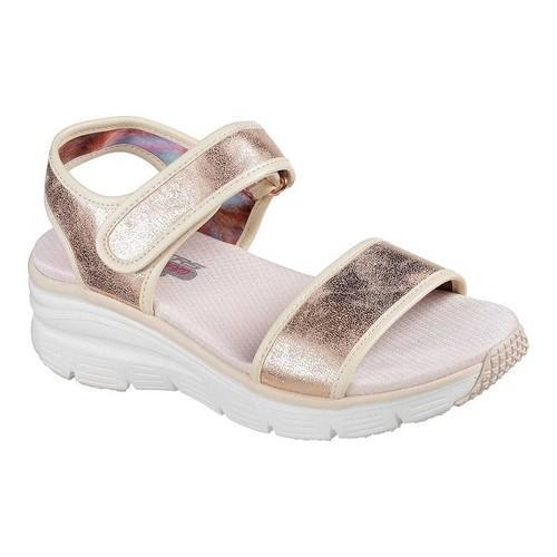 25189e9cfe19a Women's Skechers Wedge Appeal Brush Off Ankle Strap Sandal Rose Gold