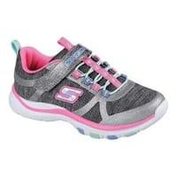 Girls' Skechers Trainer Lite Jazzy Jumpers Sneaker Charcoal/Hot Pink